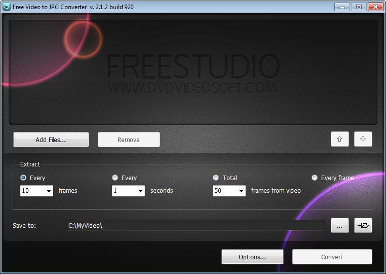 Free Video to JPG Converter, απομόνωση στιγμιοτύπων από βίντεο.